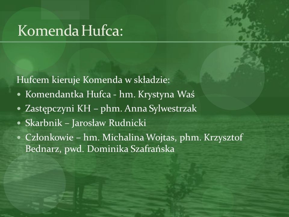 Komenda Hufca: Hufcem kieruje Komenda w składzie: