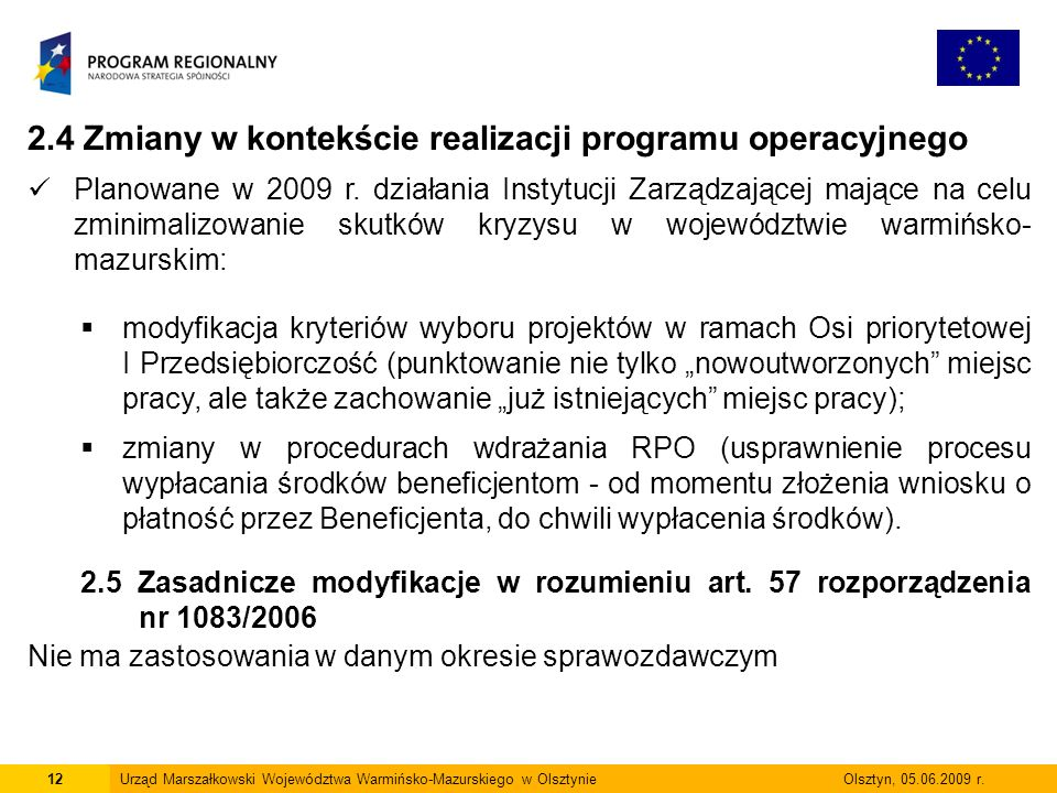 2.4 Zmiany w kontekście realizacji programu operacyjnego