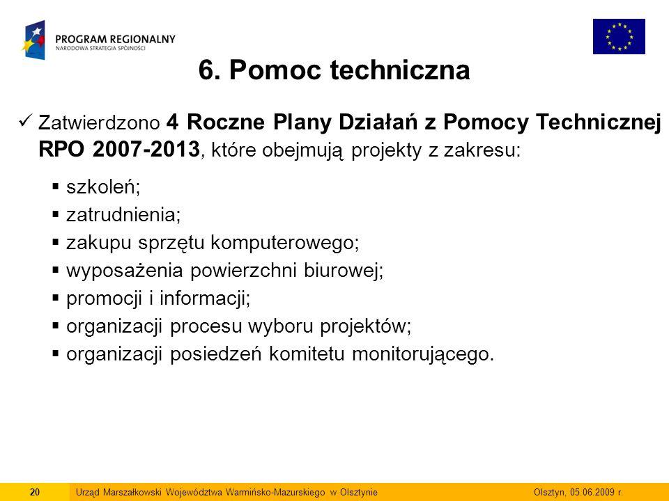 6. Pomoc techniczna Zatwierdzono 4 Roczne Plany Działań z Pomocy Technicznej RPO 2007-2013, które obejmują projekty z zakresu: