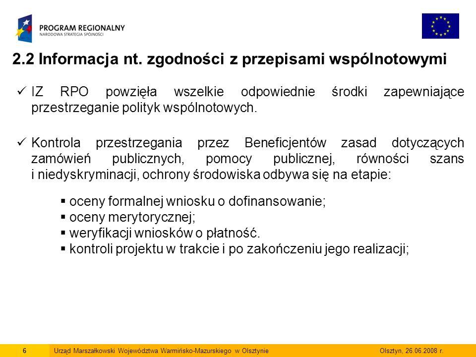 2.2 Informacja nt. zgodności z przepisami wspólnotowymi