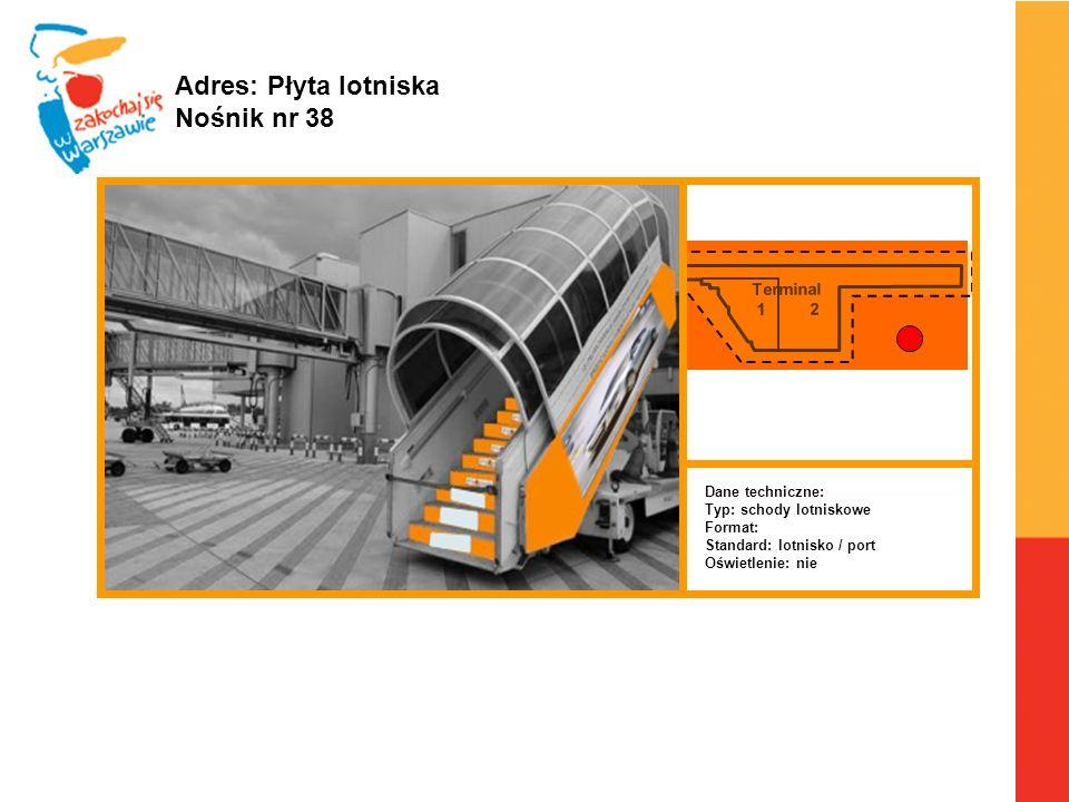 Adres: Płyta lotniska Nośnik nr 38 Terminal 1 2 Dane techniczne: