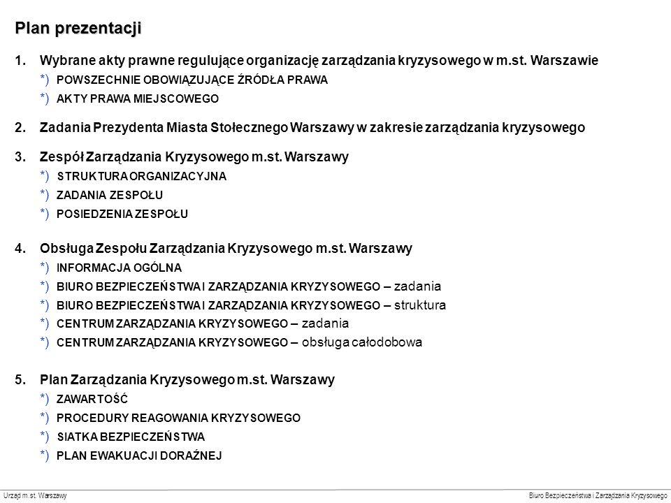 Slajd 1 Plan prezentacji. Wybrane akty prawne regulujące organizację zarządzania kryzysowego w m.st. Warszawie.
