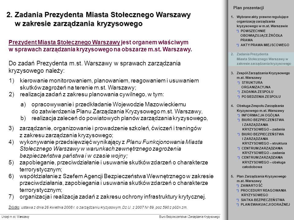 Slajd 1 Plan prezentacji. 2. Zadania Prezydenta Miasta Stołecznego Warszawy w zakresie zarządzania kryzysowego.