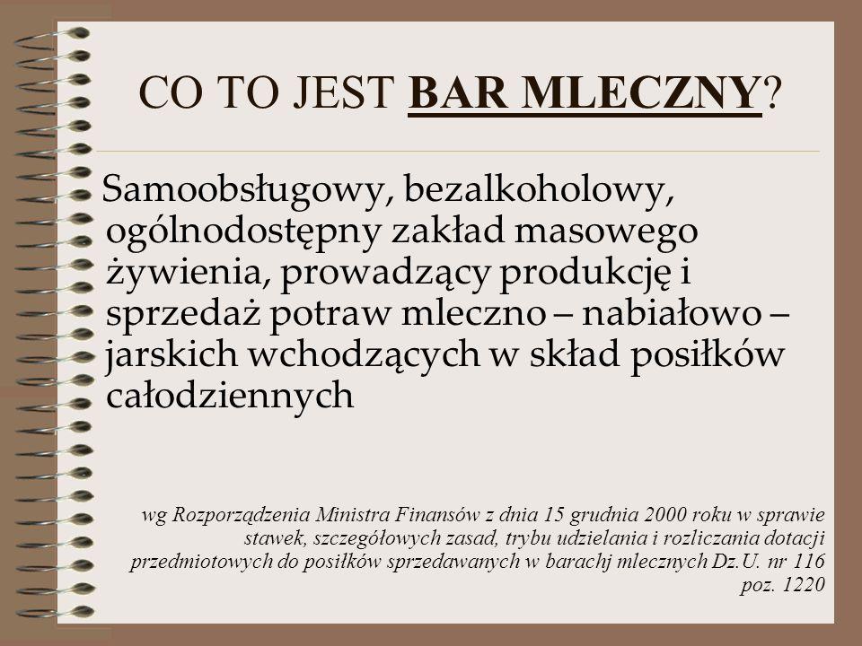 CO TO JEST BAR MLECZNY