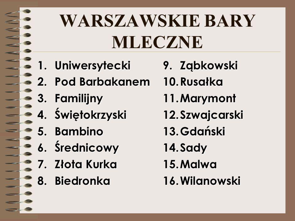 WARSZAWSKIE BARY MLECZNE