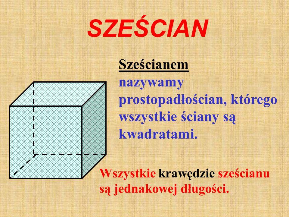 SZEŚCIAN Sześcianem nazywamy prostopadłościan, którego wszystkie ściany są kwadratami.