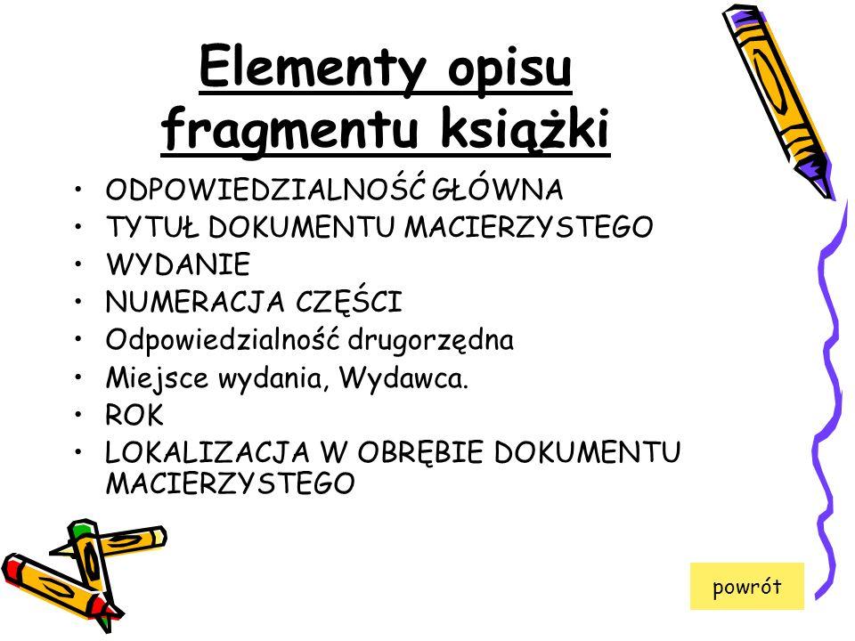 Elementy opisu fragmentu książki