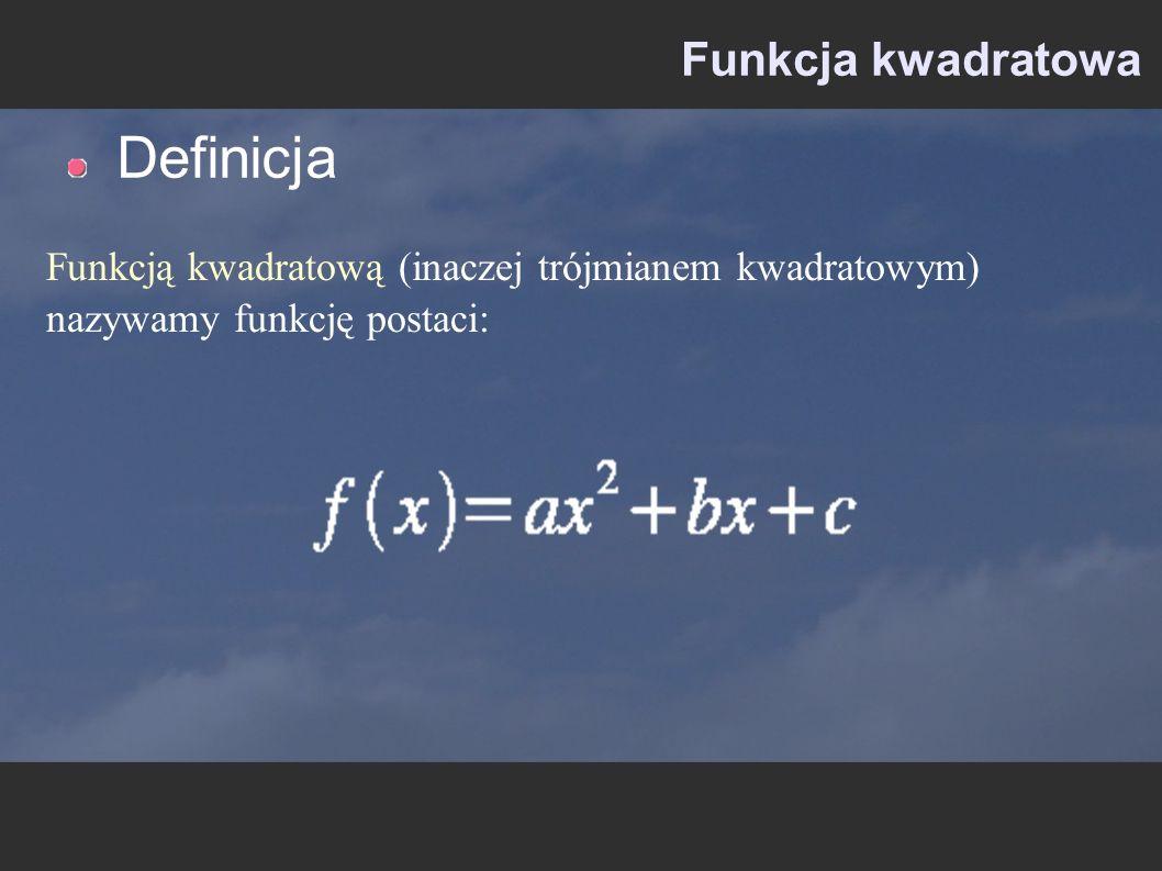 Definicja Funkcja kwadratowa