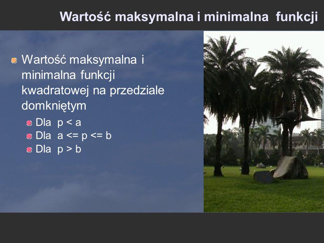Wartość maksymalna i minimalna funkcji