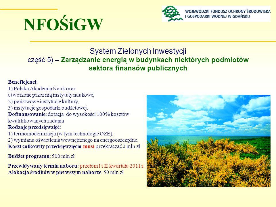 NFOŚiGW System Zielonych Inwestycji część 5) – Zarządzanie energią w budynkach niektórych podmiotów sektora finansów publicznych.