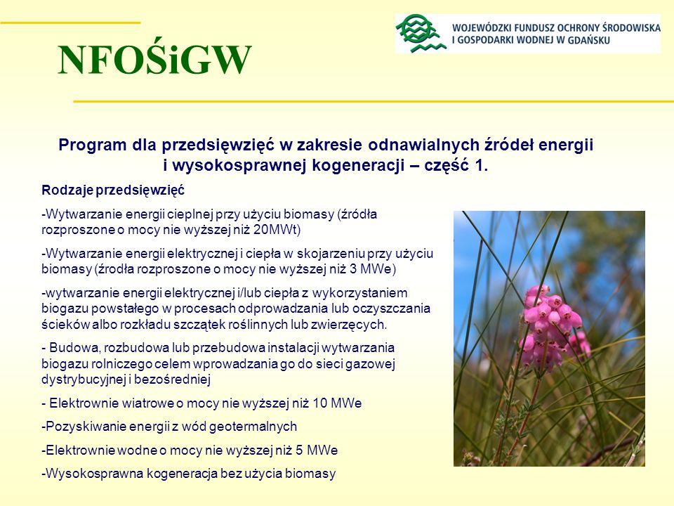 NFOŚiGW Program dla przedsięwzięć w zakresie odnawialnych źródeł energii i wysokosprawnej kogeneracji – część 1.