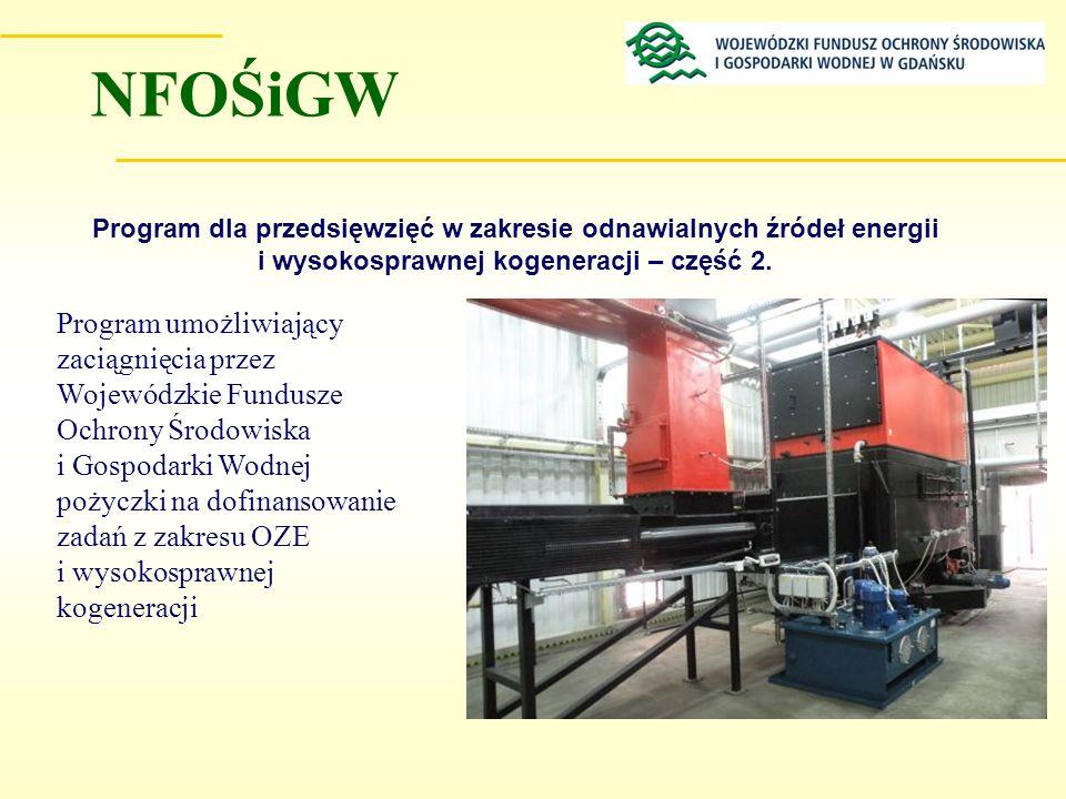 NFOŚiGW Program dla przedsięwzięć w zakresie odnawialnych źródeł energii i wysokosprawnej kogeneracji – część 2.