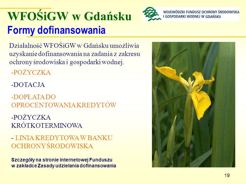WFOŚiGW w Gdańsku Formy dofinansowania