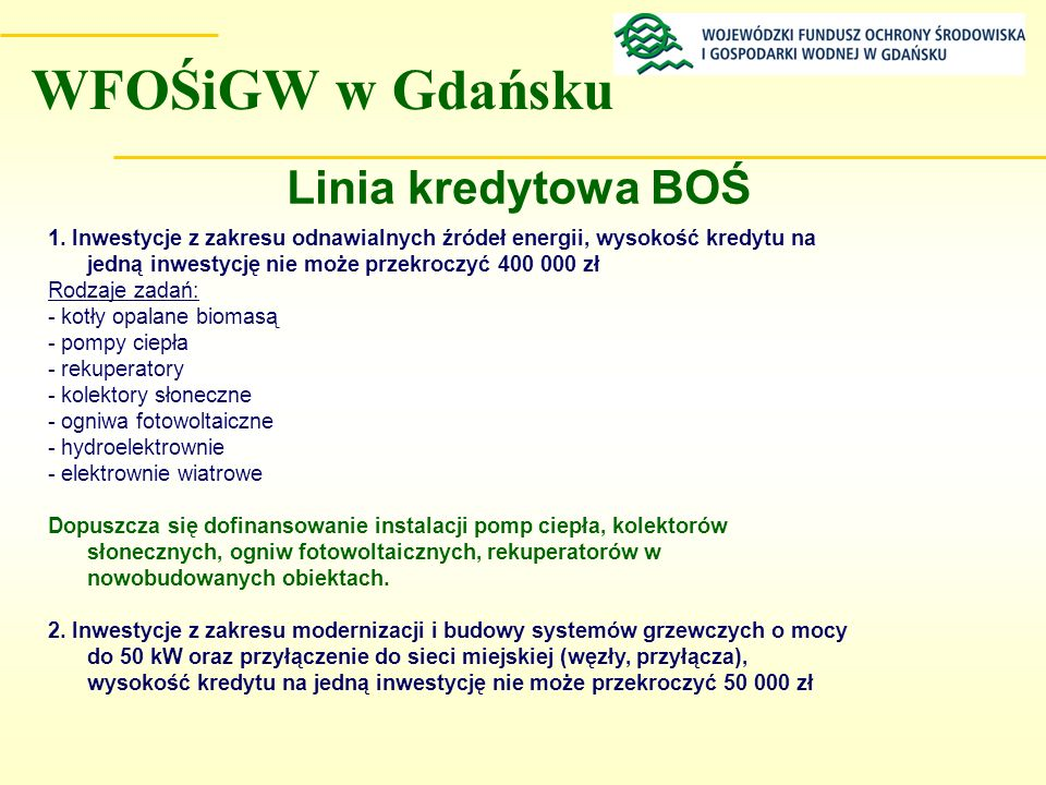 WFOŚiGW w Gdańsku Linia kredytowa BOŚ