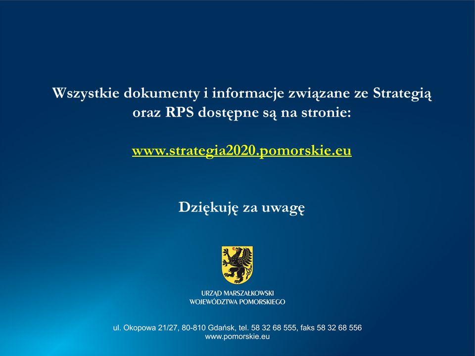 Wszystkie dokumenty i informacje związane ze Strategią oraz RPS dostępne są na stronie: www.strategia2020.pomorskie.eu