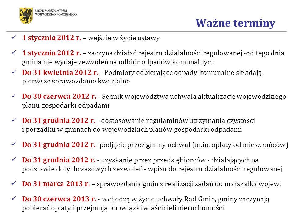Ważne terminy 1 stycznia 2012 r. – wejście w życie ustawy
