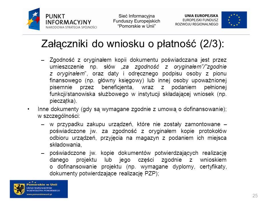 Załączniki do wniosku o płatność (2/3):