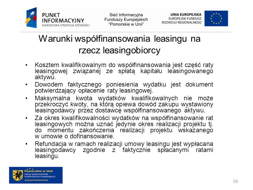 Warunki współfinansowania leasingu na rzecz leasingobiorcy