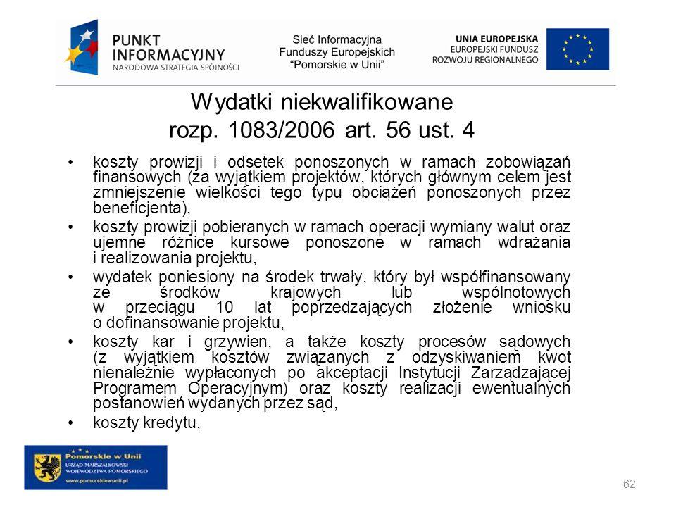 Wydatki niekwalifikowane rozp. 1083/2006 art. 56 ust. 4