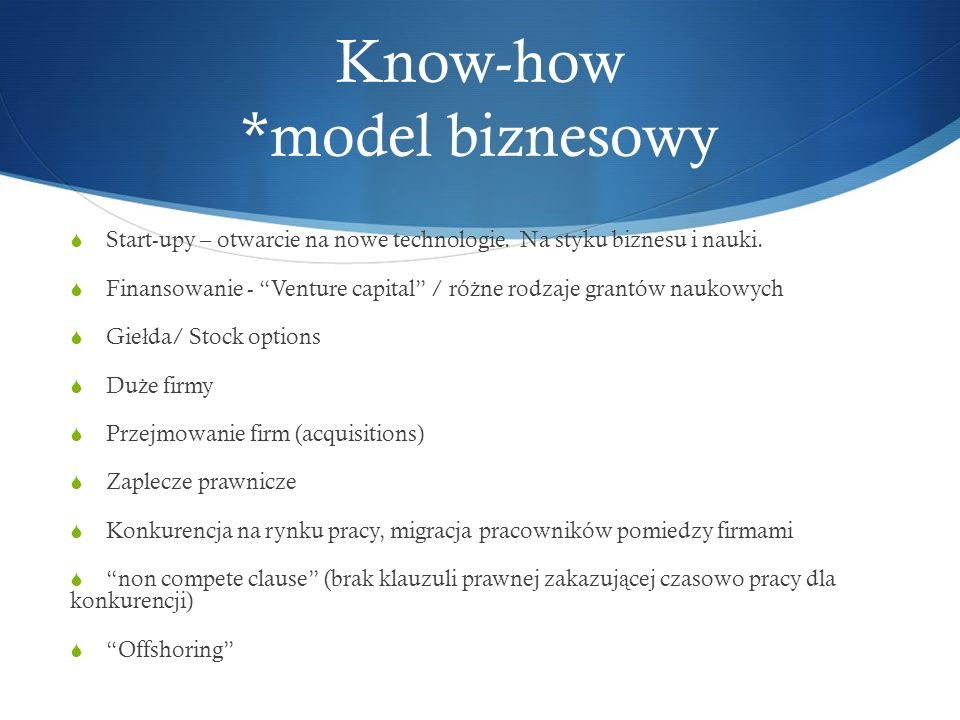 Know-how *model biznesowy