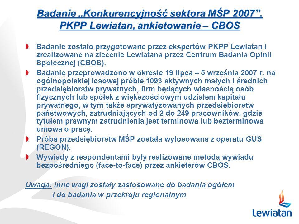 """Badanie """"Konkurencyjność sektora MŚP 2007 , PKPP Lewiatan, ankietowanie – CBOS"""