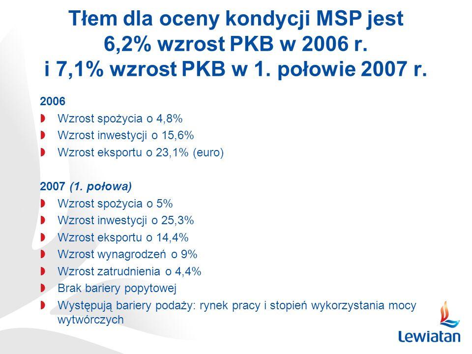 Tłem dla oceny kondycji MSP jest 6,2% wzrost PKB w 2006 r