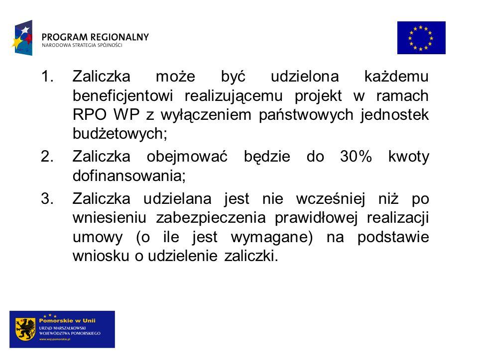 Zaliczka może być udzielona każdemu beneficjentowi realizującemu projekt w ramach RPO WP z wyłączeniem państwowych jednostek budżetowych;