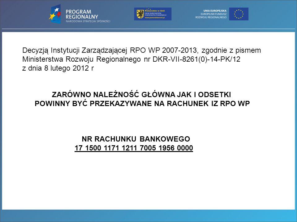 Decyzją Instytucji Zarządzającej RPO WP 2007-2013, zgodnie z pismem