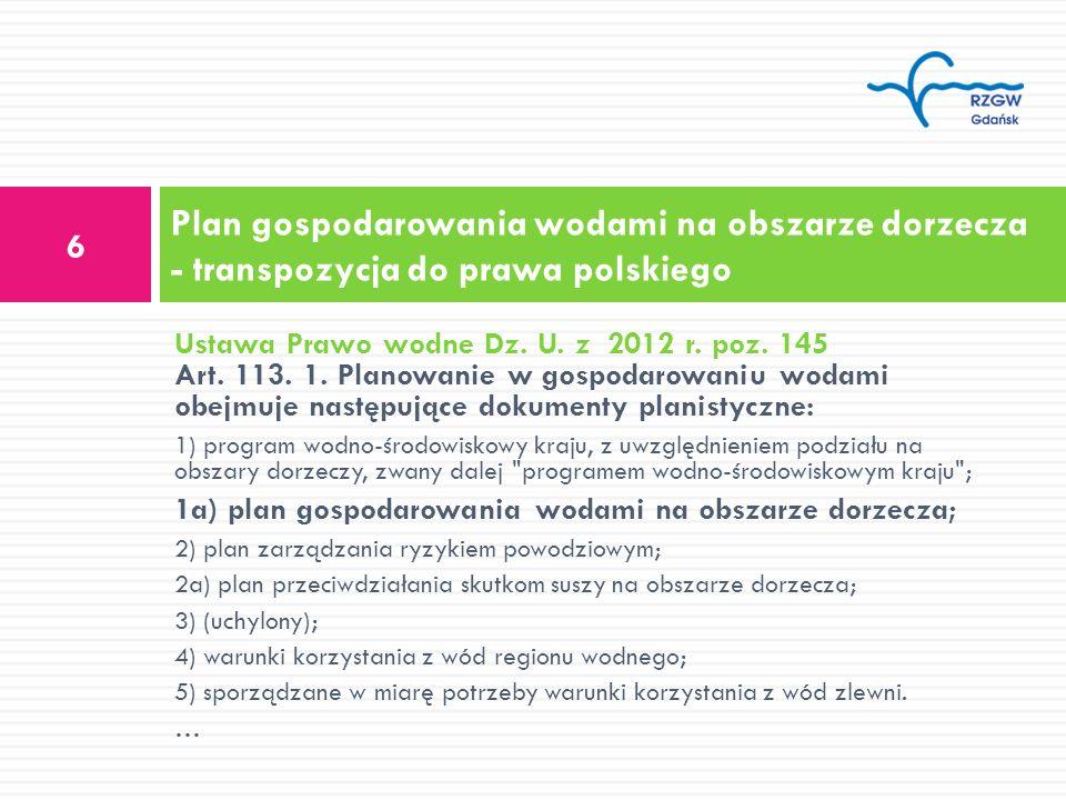 Plan gospodarowania wodami na obszarze dorzecza - transpozycja do prawa polskiego