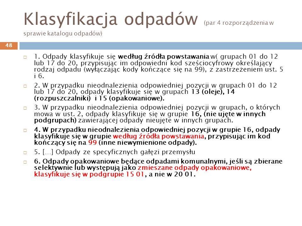 Klasyfikacja odpadów (par 4 rozporządzenia w sprawie katalogu odpadów)
