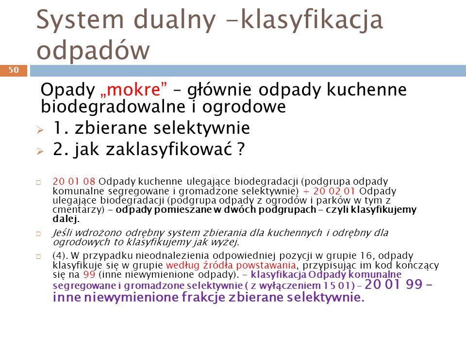 System dualny -klasyfikacja odpadów
