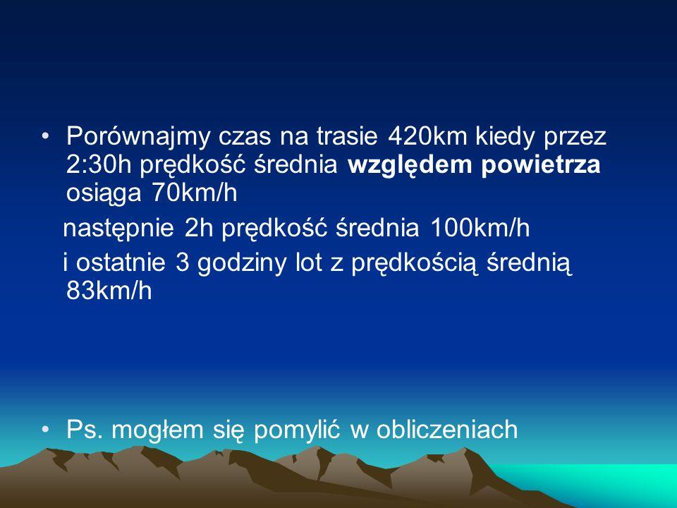 Porównajmy czas na trasie 420km kiedy przez 2:30h prędkość średnia względem powietrza osiąga 70km/h