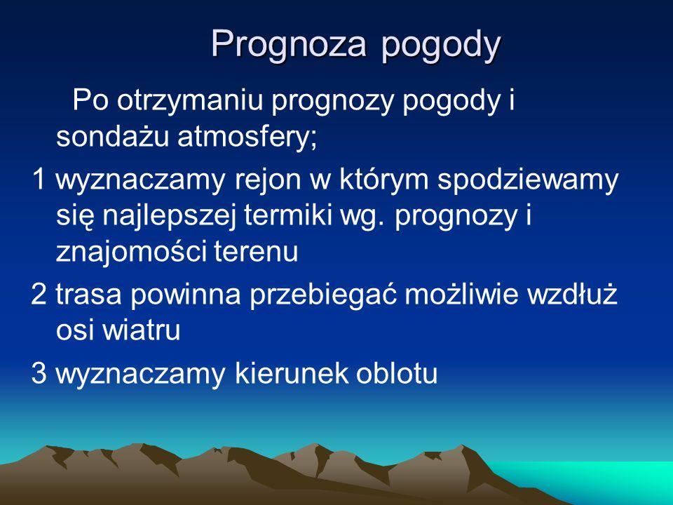 Prognoza pogody Po otrzymaniu prognozy pogody i sondażu atmosfery;