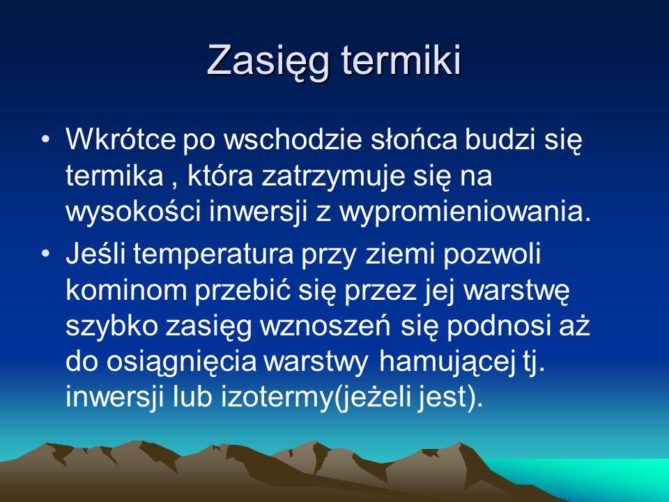Zasięg termikiWkrótce po wschodzie słońca budzi się termika , która zatrzymuje się na wysokości inwersji z wypromieniowania.