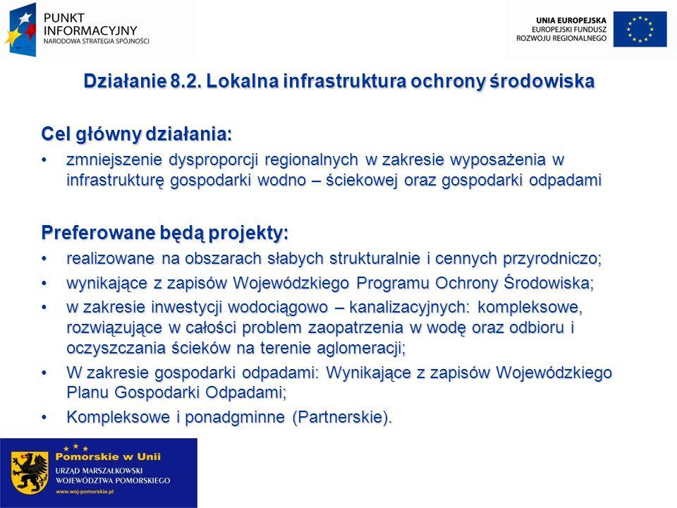 Działanie 8.2. Lokalna infrastruktura ochrony środowiska