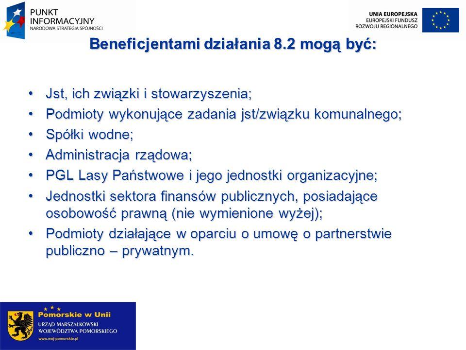 Beneficjentami działania 8.2 mogą być:
