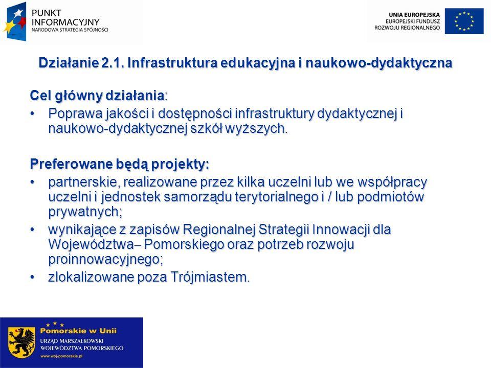 Działanie 2.1. Infrastruktura edukacyjna i naukowo-dydaktyczna