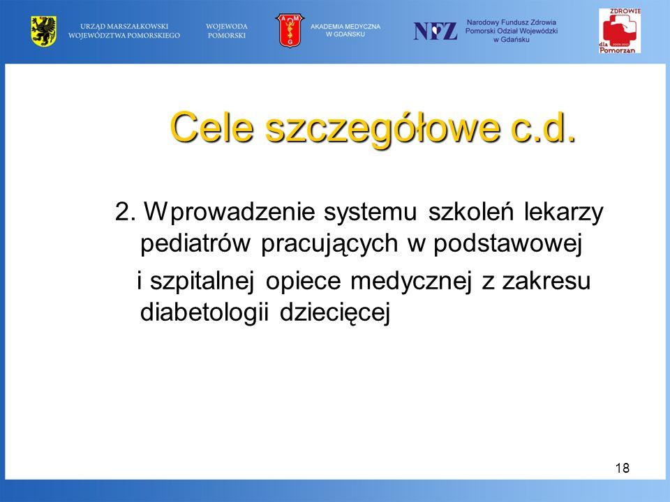 Cele szczegółowe c.d. 2. Wprowadzenie systemu szkoleń lekarzy pediatrów pracujących w podstawowej.