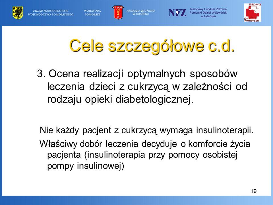 Cele szczegółowe c.d. 3. Ocena realizacji optymalnych sposobów leczenia dzieci z cukrzycą w zależności od rodzaju opieki diabetologicznej.