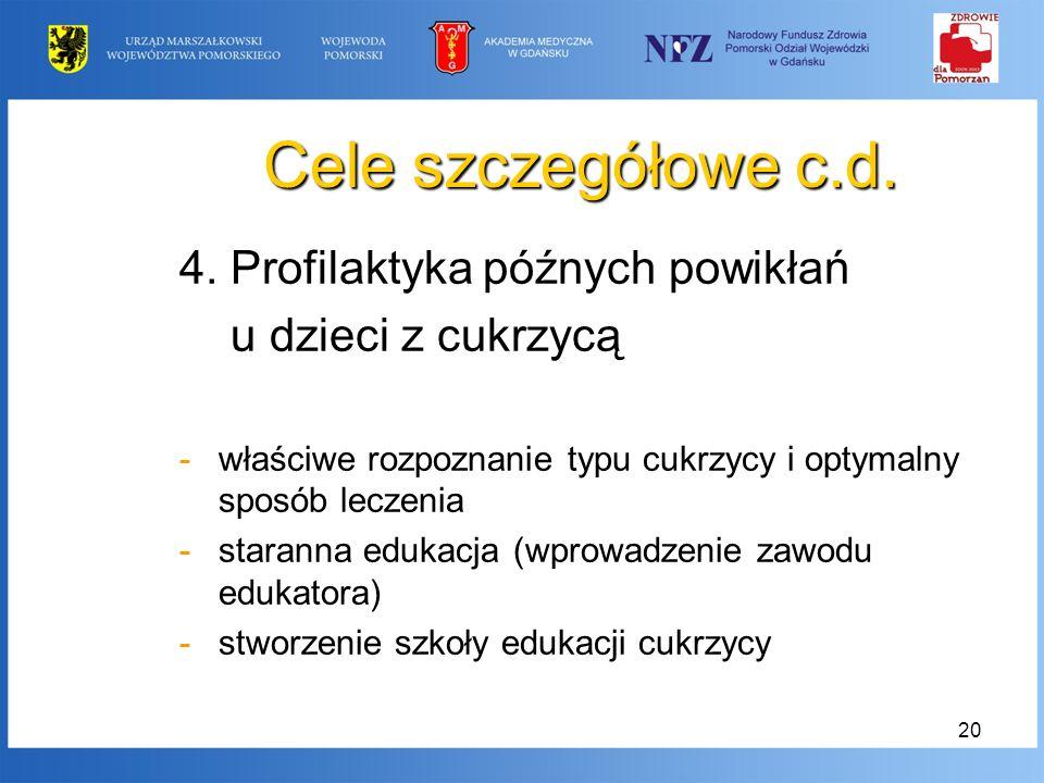 Cele szczegółowe c.d. 4. Profilaktyka późnych powikłań