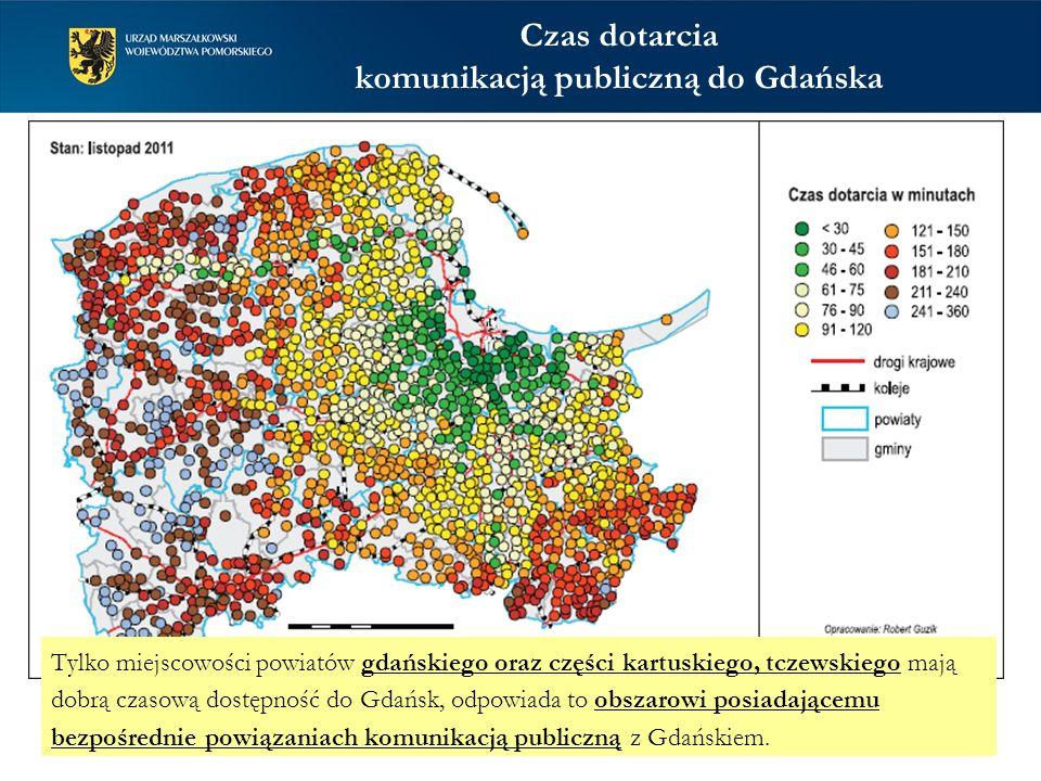 Czas dotarcia komunikacją publiczną do Gdańska