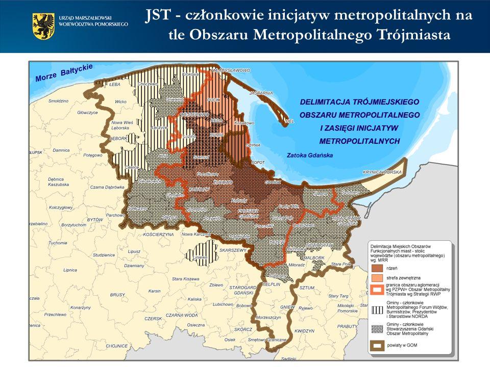 JST - członkowie inicjatyw metropolitalnych na tle Obszaru Metropolitalnego Trójmiasta