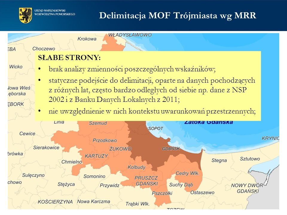Delimitacja MOF Trójmiasta wg MRR