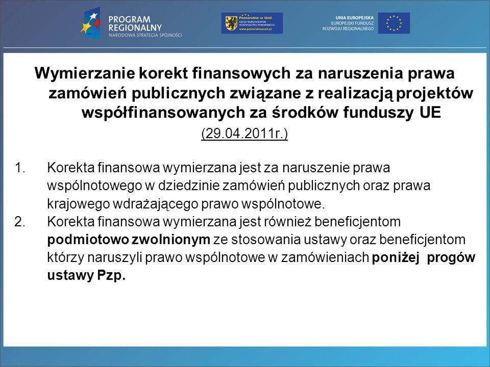 Wymierzanie korekt finansowych za naruszenia prawa zamówień publicznych związane z realizacją projektów współfinansowanych za środków funduszy UE