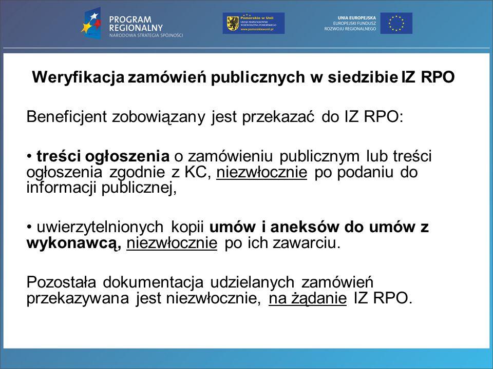 Weryfikacja zamówień publicznych w siedzibie IZ RPO
