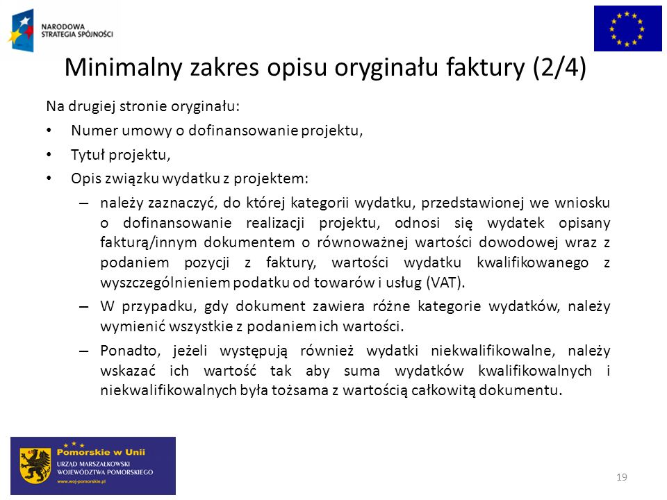 Minimalny zakres opisu oryginału faktury (2/4)