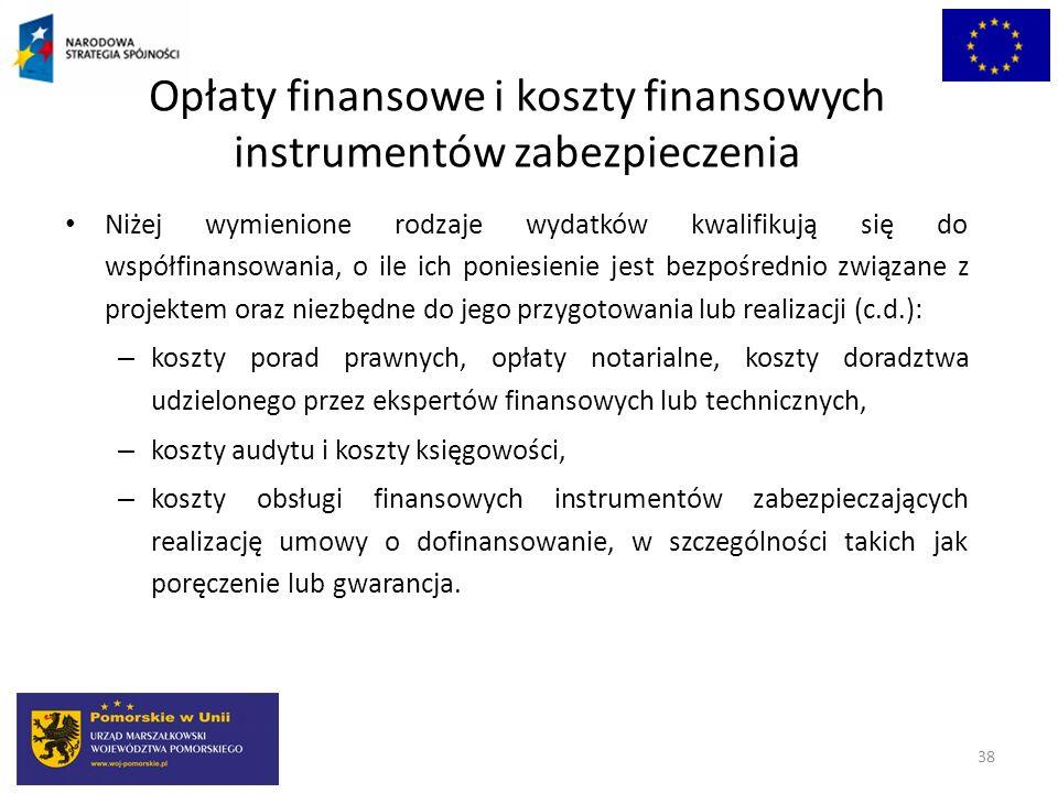 Opłaty finansowe i koszty finansowych instrumentów zabezpieczenia