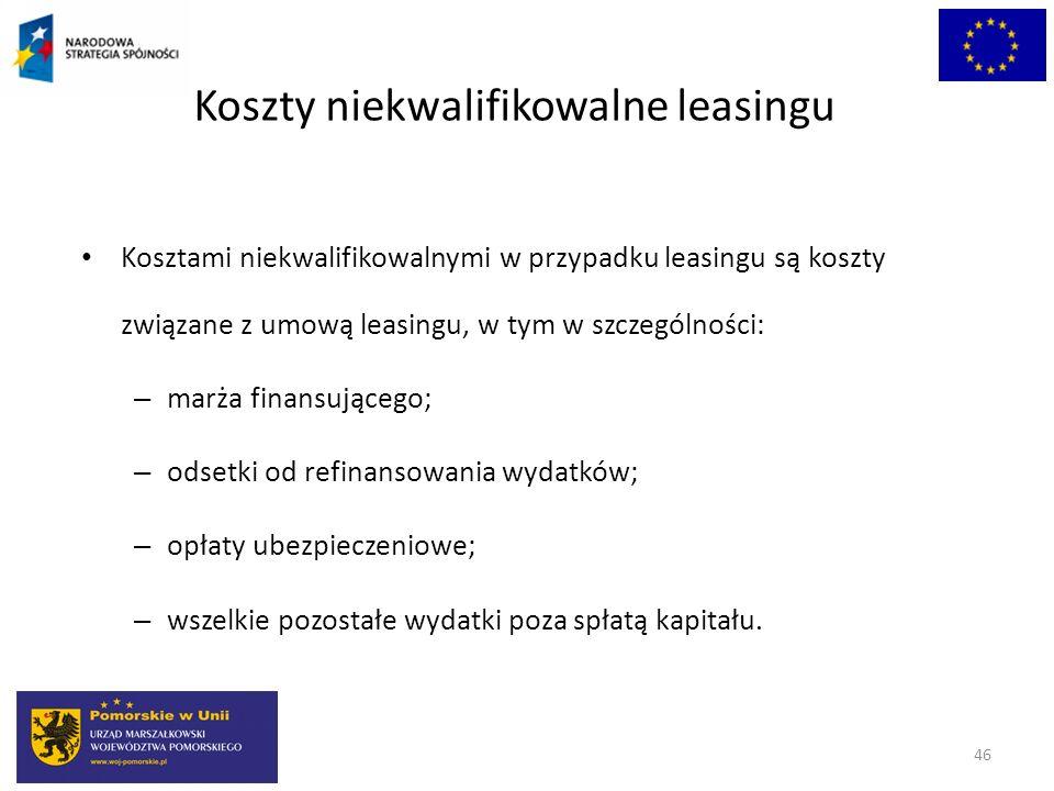 Koszty niekwalifikowalne leasingu