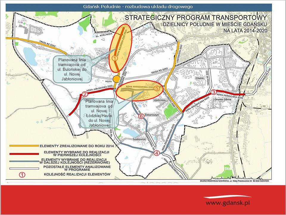 Planowana linia tramwajowa od ul. Bulońskiej do ul. Nowej Jabłoniowej