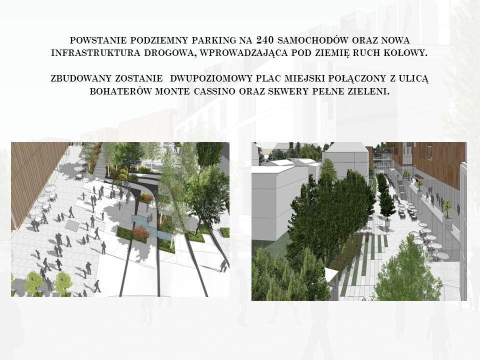 powstanie podziemny parking na 240 samochodów oraz nowa infrastruktura drogowa, wprowadzająca pod ziemię ruch kołowy.
